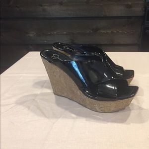 Jessica Simpson Black Patent Leather Wedge 7 1/2B